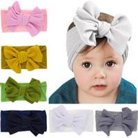 Wholesale girls wraps resale online - Newest Baby Girls Big Bow Headbands Elastic Bowknot Hairbands Headwear Kids Headdress Head Bands Newborn Turban Head Wraps EEA333