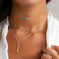 collar de capas de plata turquesa al por mayor-Collares turquesas de múltiples capas, collares de 3 capas, cadena de gargantilla delicada, infinito, gargantilla de capas delicadas mujer oro plata