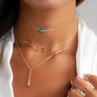 silberfarbene halskette türkis großhandel-Türkis Multi Layered Halsketten, 3 Layer Halsketten, zierliche Choker-Kette, Unendlichkeit, zierliche Schichtung Choker Frauen Gold Silber