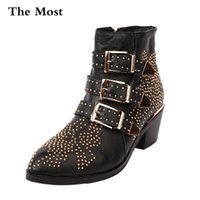 Wholesale leather motorcycle boots for men resale online - ARQA Winter Genuine Leather Buckle Ankle Boots For Women Pointed Toe Kitten Heels Motorcycle boots Shoes Women zapatos mujer T200425