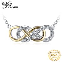 Wholesale white gold infinity necklace resale online - JewelryPalace Infinity CZ Gold Silver Pendant Necklace Sterling Silver Chain Choker Statement Collar Necklace Women cm V191203