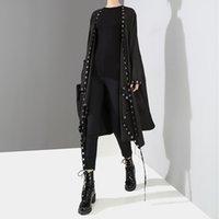 корейский стиль куртки оптовых-2019 Корейский Стиль Женщины Очень Длинные Твердые Черные Куртки Открытый Дизайн Длинные Ленты Сшитые Металлические Отверстия Женская Стильная Свободная Куртка F682