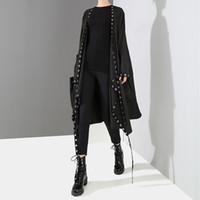 stilvolle schwarze jacken großhandel-2019 koreanische Art-Frauen-sehr lange feste schwarze Jacke öffnen Entwurfs-langes Band genähte Metalllöcher weibliche stilvolle lose Jacke F682