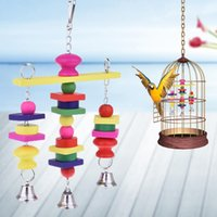 ingrosso campana birdcage-Pet Uccello Toys Parrot Hammock altalena con Bell divertente Morso Arrampicata Formazione Istruzione Giocattoli Birdcage Accessori Uccello Supplies Nuova