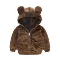 erkek çocuk ceket toptan satış-Kış Moda Sıcak Hayvan Polar Çocuk Mont Pamuk Astar Bebek Kız Erkek Ceketler Çocuk Giyim 1-4 Yaşında