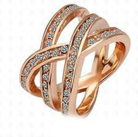 porzellan verlobungsfeier kleider großhandel-Ringe Wunderschön Rose Gold Gefüllt Versilbert Hochzeitsbänder Kleid 18 Karat Gold Diamant Engagement Silber Ringe Mode Freimaurer Diamantringe