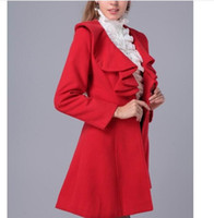 Wholesale woolen long coat for ladies resale online - Fashion Woolen coat for women AutumnWinter Outfit New Elegant Ladies Plus Size Clothing Coat Long Sleeve Ruffled Fur Overcoat