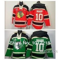 patrick sharp jerseys verdes al por mayor-Hombres envío gratis- Chicago Blackhawks 10 Patrick Sharp Hoodies Red A Patch hockey sobre hielo Patrick Sharp sudaderas Jersey Green CCM