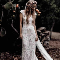 Wholesale cotton wedding dress train for sale - Group buy New Vintage Bohemian Wedding Dresses Short Sleeves Hppie Crochet Cotton Lace Boho Country Mermaid Bridal Gowns