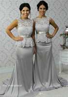 Wholesale bridesmaid dresses grey sleeveless resale online - 2019 Cheap Grey Lace Peplum Bridesmaid Dress Long Country Garden Formal Wedding Party Guest Maid of Honor Gown Plus Size Custom Made