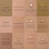 pérolas de pingente de borboleta venda por atacado-12 estilos de moda choker colares com cartão de ouro círculo elefante pérola da libélula borboleta colar de pingente para mulheres jóias