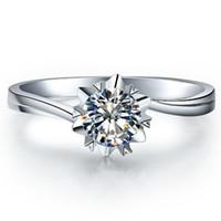 ingrosso anello solitario impostazione oro bianco-1CT Twist Setting Snowflake Propone Brand Jewelry SONA Diamond Ring per le donne Engagement Solitaire Sterling Silver in 18K White Gold Plated