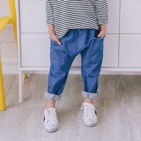 meninos de 12 anos venda por atacado-Qualidade quente 2019 Meninas Jeans para a Primavera e Outono Roupas Infantis Crianças harem Jeans 1-6 Idades menino Azul jeans menina crianças