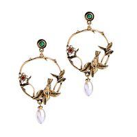 ingrosso desiderando perle-Ear Stud ragazza retrò elegante perla fiore tridimensionale decorazione orecchio uccello Europa e Stati Uniti desiderano stile caldo orna transfrontaliero