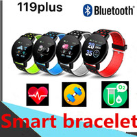 Wholesale android bluetooth app resale online - 119 PLUS Smart bracelet Bluetooth Passometer Fitness Tracker Heart Rate Round screen Home Use Outdoor For Android retail package FitPro APP