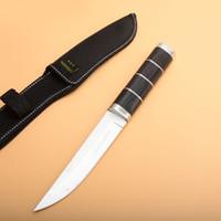 satin en bois achat en gros de-Survie couteau droit 440C Satin Drop Point Lame Poignée En Bois Lame Fixe Couteaux Tactiques Avec Gaine En Nylon
