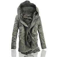 парковая куртка мужская чёрная оптовых-2017  Fashion Winter Parka for Men Thick Warm Zipper Jacket Autumn Outerwear Hooded Black  Coat Mens Long Jackets