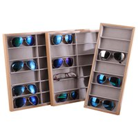 Wholesale sunglasses display stand rack for sale - Group buy Classic Grids Wooden Velvet Sunglasses Display Stand Gray Display Tray Shelf Rack Eyesglasses Showcase Organizer