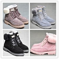 Wholesale wide calf snow boots resale online - WGG Sheepskin Ankle Boots Winter laceup Snow Solid Leather outdoor Womens girl half Boots Ankle boots Black Grey Pink shoes