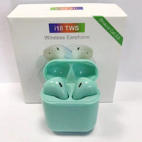 Wholesale white color windows for sale - I18 TWS pop up windows Bluetooth Earphone Sports True Wireless Earbuds Touch Earphones headset Magnetic Charging Box PK i10 i12 i13