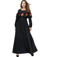 497fe786b4dc Semplice moda donna manica lunga arruffato fiore ricamo nero a vita alta  casual elegante Maxi vestito per le signore Roba di grandi dimensioni