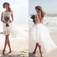 Wholesale romantic sexy short beach wedding dresses for sale - Group buy Beach Short Wedding Dresses Sexy High Low Sexy Backless Bateau Romantic Girls Holiday Party Wear Cheap Bridal Gown
