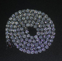 kristal sıralar toptan satış-Mens Altın Gümüş Kaplama Buzlu Out 20-30 inç 1 Satır Simüle Elmas Bling Tenis Zincir Kolye Hip Hop Takı
