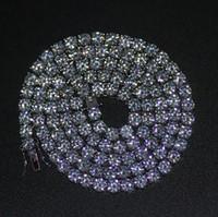 diamantreihenketten großhandel-Mens Gold Silber überzogene Iced Out 20-30 Zoll 1 Reihe simuliert Diamant Bling Tennis Kette Halskette Hip Hop Schmuck