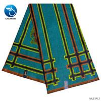 tejido de lino teñido de hilo al por mayor-LIULANZHI telas de cera de algodón tela africana vestido de cera 2019 recién llegado imprime tela para mujeres vestido 6 yardas ML13P08-ML13P13
