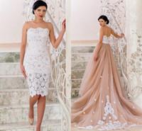 dantel yakala toptan satış-İki adet Mini Donatılmış Elbise tül Çiçek Dantel Göz Alıcı Gelinlikler Straplez Ayrılabilir Etek Vintage Plaj Düğün Balo
