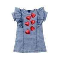 vestidos de mezclilla al por mayor-Pudcoco 2019 Kids Baby Girls 3D Heart Denim Pageant Summer Princess Dress Lentejuelas Sundress Ropa