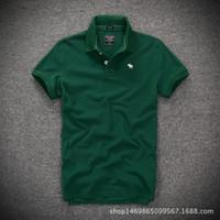 yaka yaka gömlek erkek toptan satış-2018 Yeni Erkekler Yaka Tişörtleri T Gömlek Erkekler Slim Fit Katı Renk Spor Rahat% 100% Pamuklu Tişört Tops Yüksek Kalite Artı Boyutu