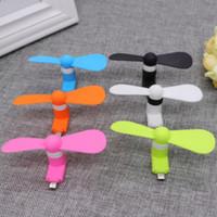 fan usb power bank al por mayor-Mini USB Air Fan 6 colores portátil Mute Cooler portátil de refrigeración para teléfonos Android Power Bank Fan 10 piezas ePacket