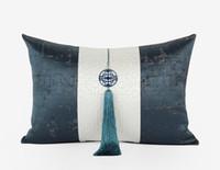 ingrosso cuscini grigi blu-Cuscino girocollo in tessuto di alta qualità in stile cinese, cuscino patchwork grigio blu, cuscino frangia per appoggiarsi, cotone