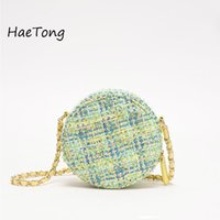 Wholesale cute linen for sale - Group buy Cotton and Linen Crossbody Bags For Women Winter Cute Shoulder Messenger Bag Female Mini Chain Round Handbags and Purses