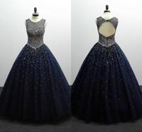 синие платья выпускного вечера 8-го сорта оптовых-2019 темно-синий Quinceanera платья жемчуг бисером блесток Jewel Sheer декольте спинки бальные платья выпускного вечера платье для колледжа 8-го класса