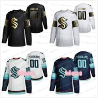Wholesale Seattle Kraken Golden Edition nd Jerseys Stitched Custom BLANK Home Road Team Mens S XL White Black Jersey Embroidery