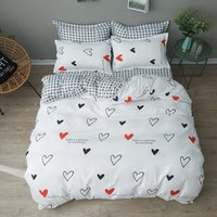 Wholesale sweet bedding set resale online - Solid Sweet Style Little Red Heart Flower Plant Leaves And Animals Printed Bedding Set With Different Color For Girls