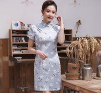 ingrosso maglietta moderna delle ragazze-Primavera ed estate Nuovo cotone e lino Multicolore Cheongsam Modern Girls Abiti cheongsam di miglioramento fresco e alla moda