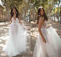 Wholesale back neck model resale online - 2019 Spaghetti Open Back Bohemian Wedding Dresses Cheap Lace Appliqued A line Beach Boho Plus Szie Bridal Gown BC2608