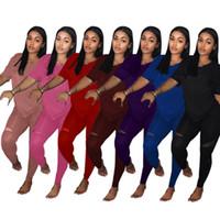 artı boyutu kadın yoga pantolon toptan satış-Kadın tasarımcı iki parçalı marka set kıyafet kazak ekip boyun kısa kollu t-shirt bodycon tayt pantolon Sırf yaz giyim artı boyutu 9