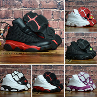 pequenas bebas venda por atacado-Nike air jordan 13 retro Venda quente 13 s sílex bebê crianças pequenas tênis de basquete 13 raça gatos pretos infantil esportes sneaker menino e menina crianças athletic sneaker