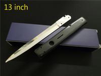 складной шпилька оптовых-13 Дюймов Итальянский AB Godfather Mafia Stiletto Горизонтальный Тактический Складной Нож 440C Лезвие Автоматический Кемпинг Ножи Для Охоты
