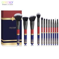 ingrosso capelli set up-Docolor 12 PCS Pennelli trucco Set Powder Foundation Ombretto Make Up Pennelli Set Cosmetics Soft Synthetic Hair Eyeliner Lip Brush