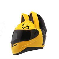 kask motosiklet sarı toptan satış-NITRINOS Marka motosiklet kask tam yüz kedi kulakları ile dört mevsim sarı renk