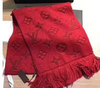 ingrosso lunghe sciarpe di seta uomini rossi-Sciarpa LOGOMANIA SHINE invernale Sciarpa di seta e lana di alta qualità Donna e uomo Due lati Sciarpa di seta rossa nera lunga Sciarpe di fiori Sciarpe
