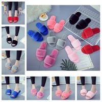 zapatillas de invierno para el hogar al por mayor-Zapatillas de piel cálida de invierno Zapatillas de felpa de diapositivas esponjosas Zapatillas de casa naturales Zapatillas de diseñador cómodas de tacón plano Zapatillas T2D5042
