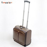Wholesale laptops 16 for sale - Group buy 16 inch Cabin Rolling Luggage Travel Suitcase Grid pattern Case with Laptop Bag cm wheel Trolley PU Leater Box