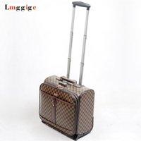 ingrosso valigia modello-Valigia da viaggio a 16 pollici per bagagli da cabina, custodia con motivo a griglia con borsa per laptop, scatola porta PU da 41 * 38 * 22 cm