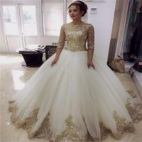Wholesale half wedding dresses resale online - Sequined Champagne Gold Lace Appliques Puffy Ball Gown Wedding Dresses with Half Sleeves Custom Color Arabic Bridal Gowns